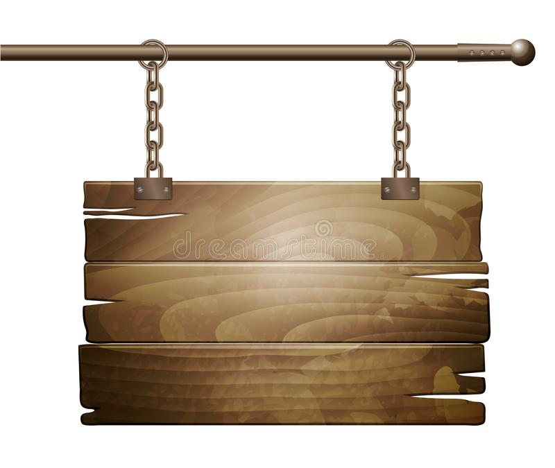 Vector wooden board sign royalty free illustration