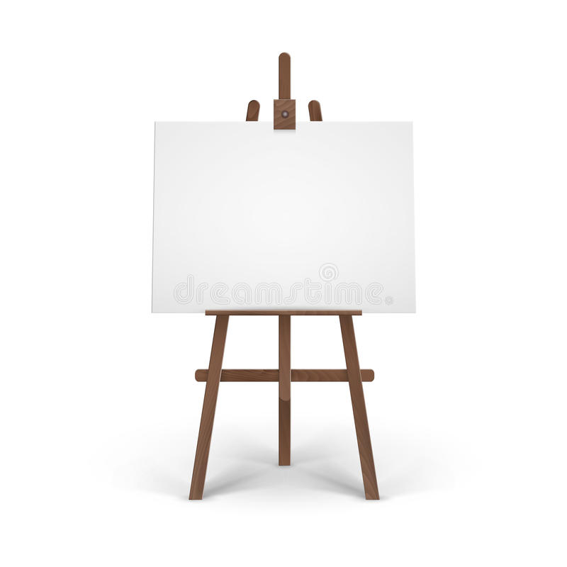 Vector Wooden Brown Easel with Mock Up Empty Blank Horizontal Canvas on Background royalty free illustration