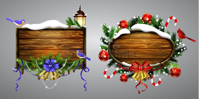 Vector wooden christmas board. Vector realistic illustration set of wooden christmas board with christmas tree Cardinal and chickadee birds and decorations royalty free illustration