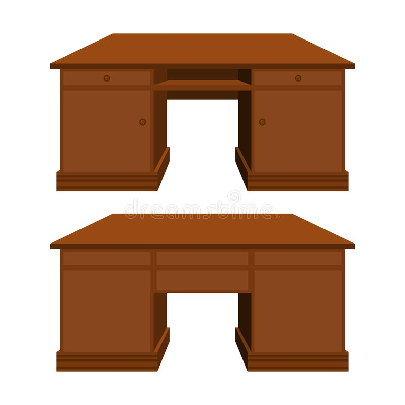 Vector wooden desk in perspective royalty free illustration