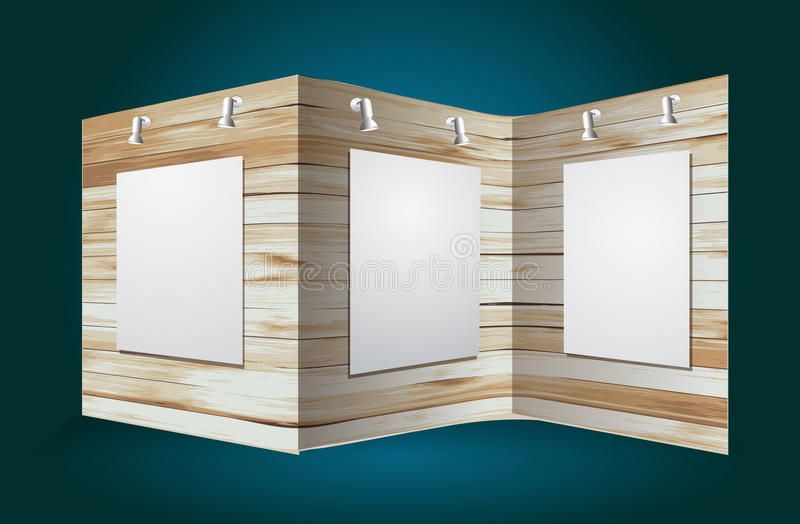 Modern Exhibition Stand Out : Vector wooden exhibition stand stock photo image