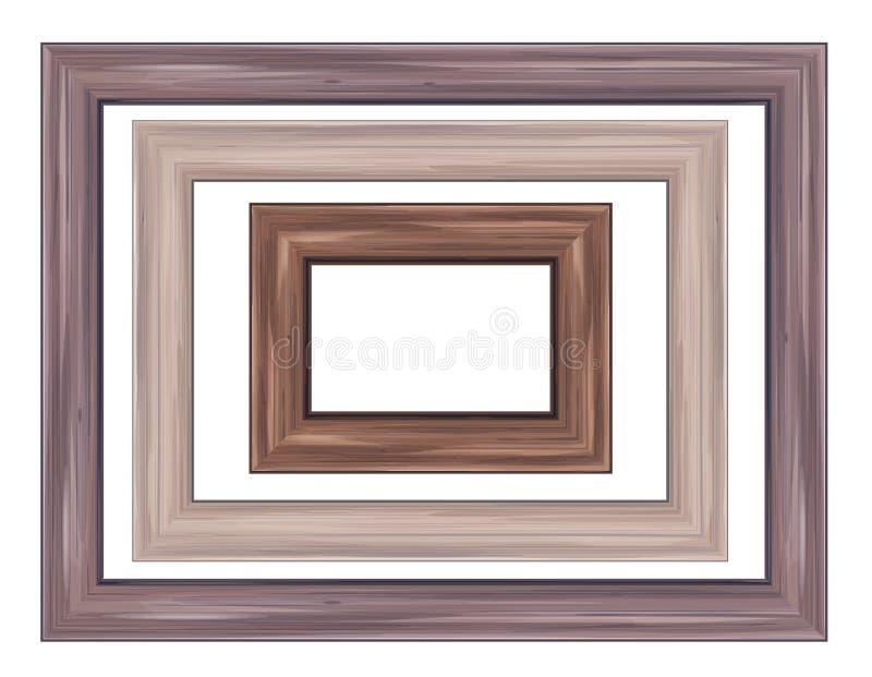 Vector wooden frames. Set wooden frames different shapes in brown colors stock illustration