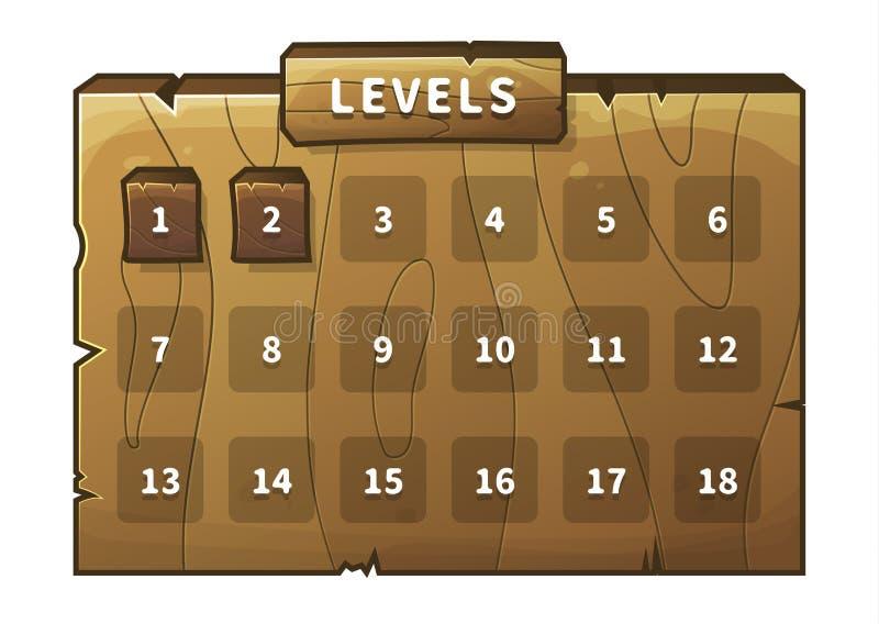 Vector wooden game ui stock illustration