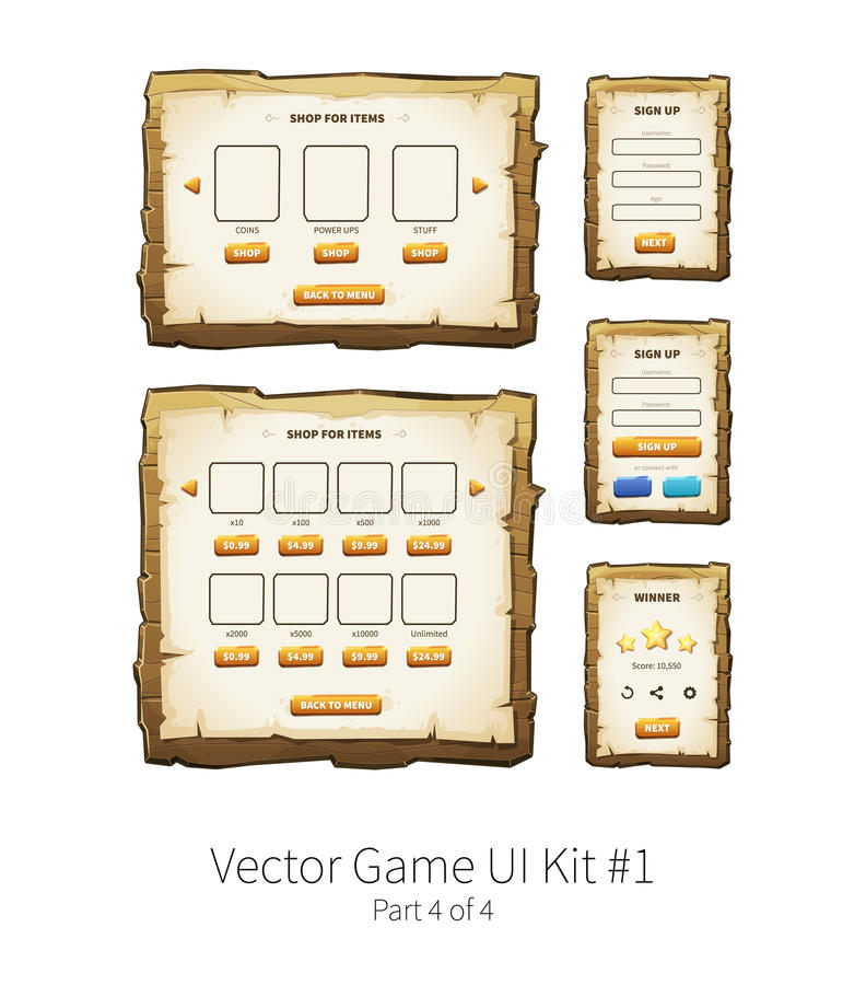 Vector wooden game ui royalty free illustration