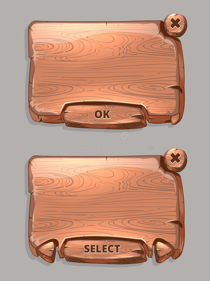 Vector wooden panels for game UI in cartoon style vector illustration