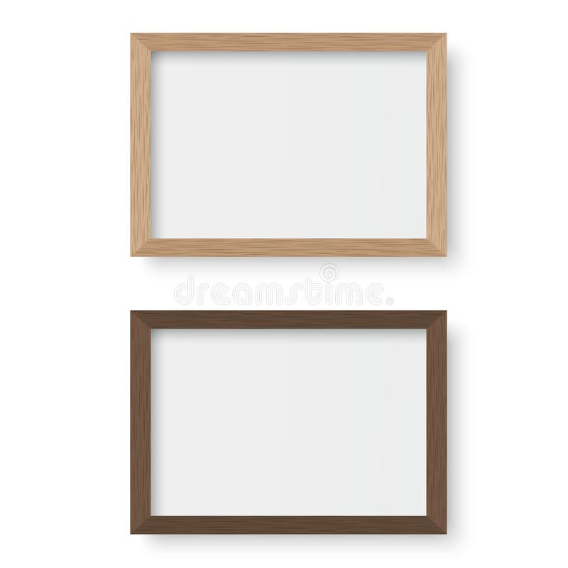 Vector wooden picture frame stock illustration