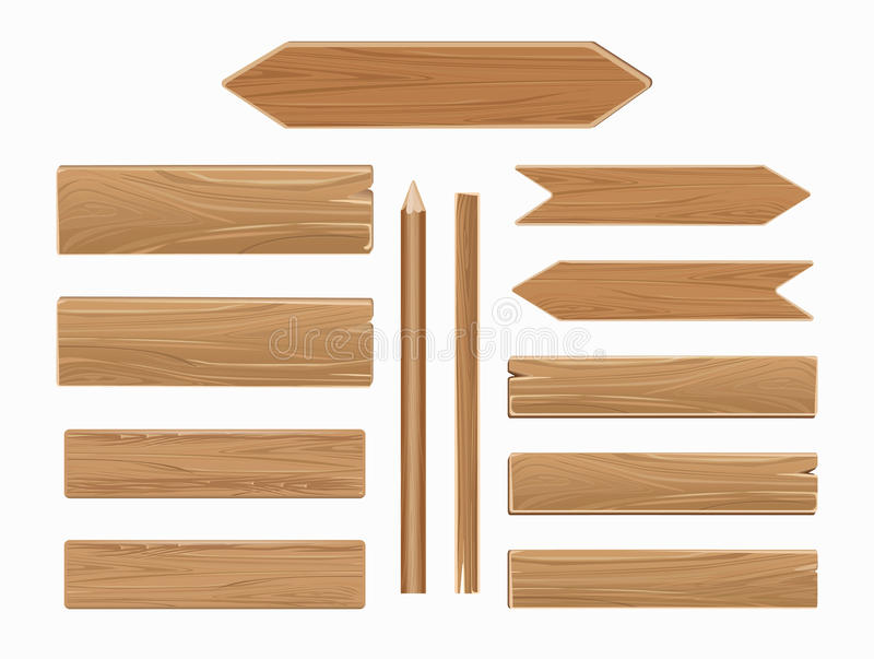 Vector wooden planks isolated on white collection stock illustration