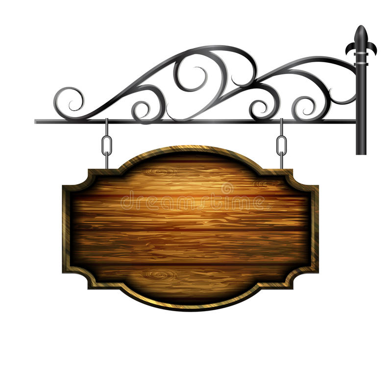 Vector wooden signboard. And metal decoration isolated royalty free illustration