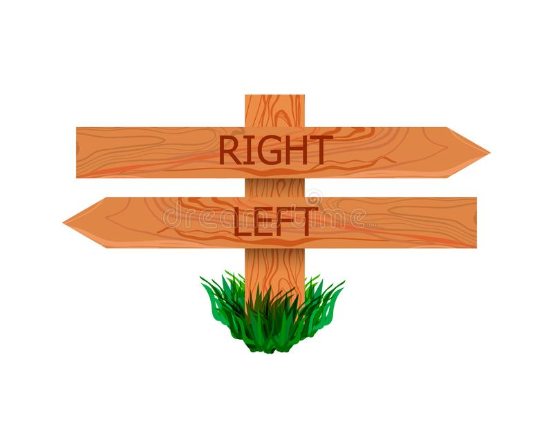 Vector Wooden Signpost with Right and Left Pointers, Icon Isolated on White Background, Directional Sign. Vector Wooden Signpost with Right and Left Pointers stock illustration