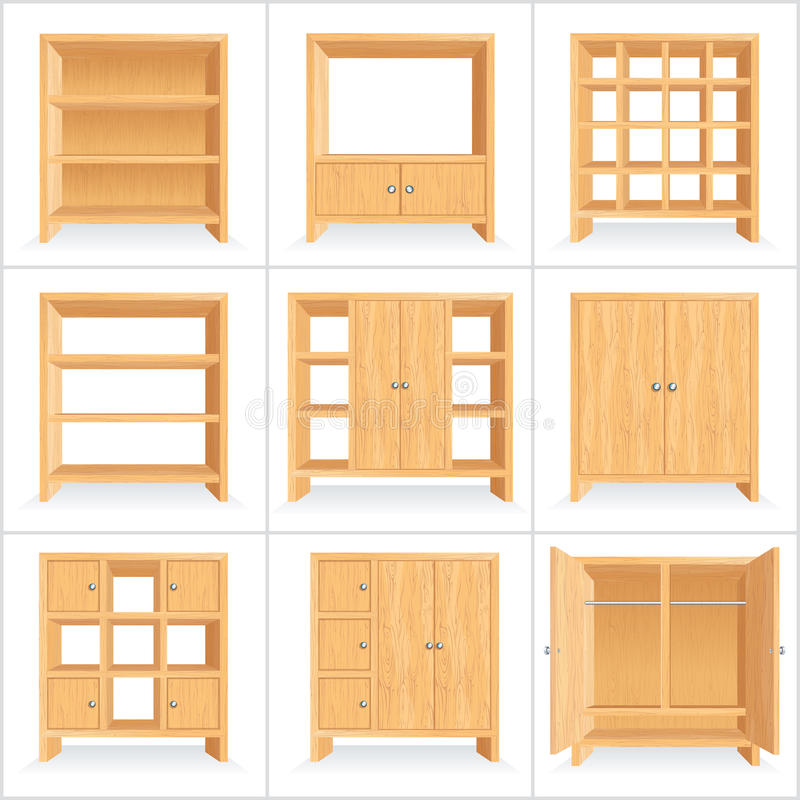 Vector Wooden Wardrobe, Cabinet, Bookshelf royalty free illustration