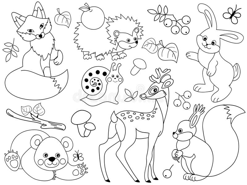 Vector Woodland Animals. Vector set of black and white cute wild animals in the forest. Set includes fox, deer, bear, hedgehog, squirrel, snail and rabbit vector illustration