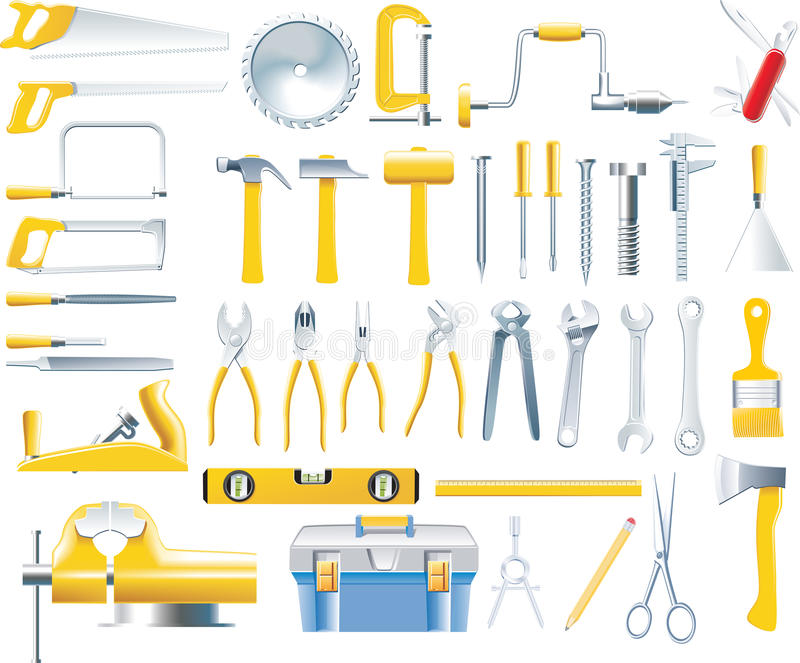 Download Vector Woodworker Tools Icon Set Stock Photo - Image: 9581430