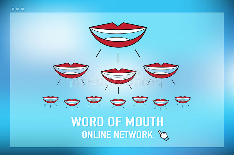 Vector : word of mouth online network on browser screen at blue stock illustration