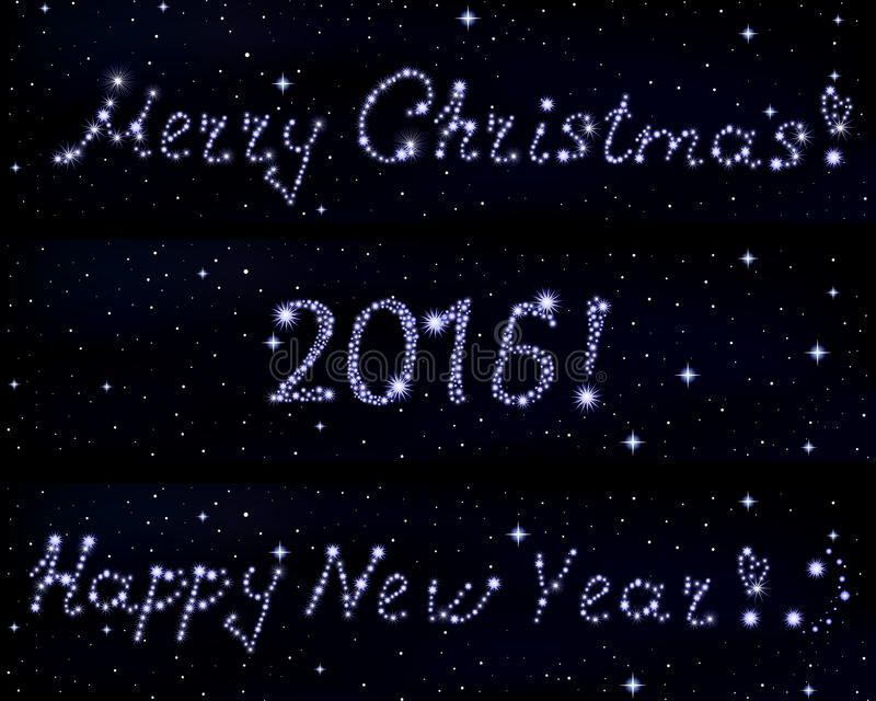 Vector words Merry Christmas!, 2016 and Happy New Year! written in stars on space starry background stock illustration