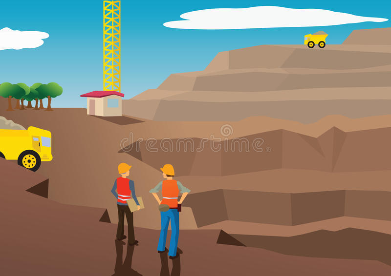 Vector of workers in a mining field vector illustration