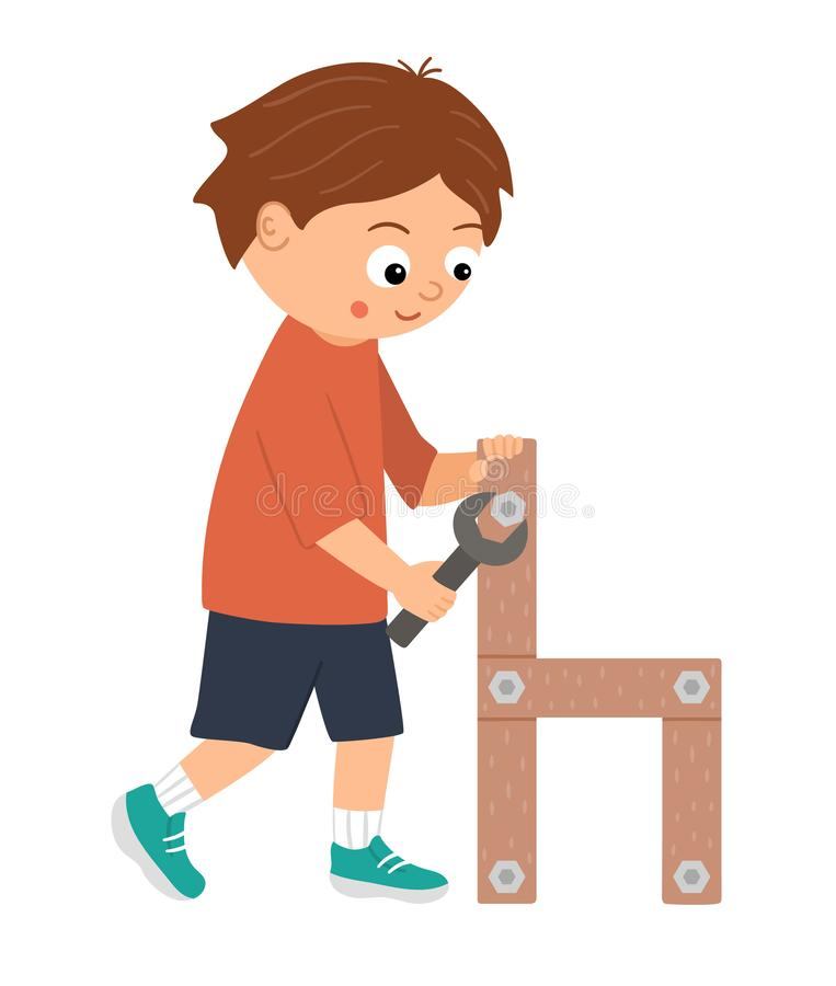 Free Vector Working Boy. Flat Funny Kid Character Screwing A Screw In A Wood Chair With A Screwdriver. Royalty Free Stock Image - 159730126