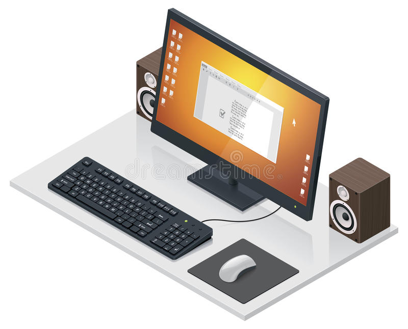 Vector Workplace With Computer And Peripherals Royalty Free Stock Photos
