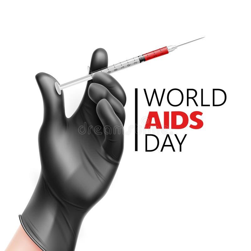 Vector world aids day awareness, Hiv prevention. Hand in medical black glove holding syringe. World AIDs day awareness poster. Immunodeficiency syndrome, HIV vector illustration