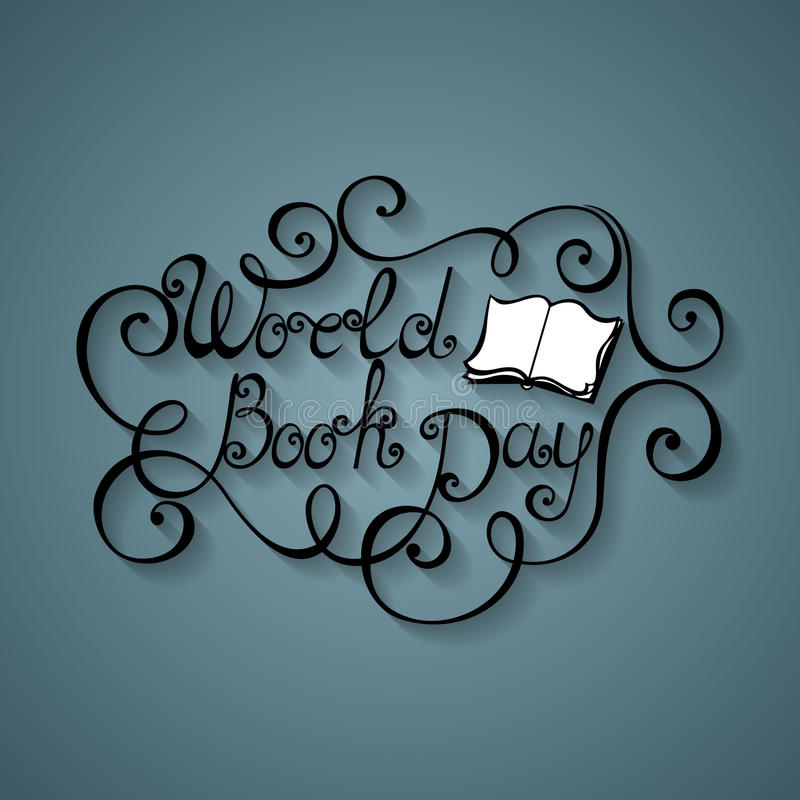 Vector World Book and Copyright Day Inscription stock illustration
