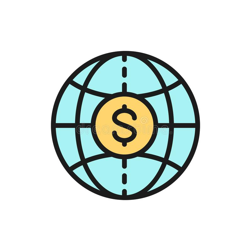 Vector world with coin, global cash, money transfers flat color line icon. stock illustration