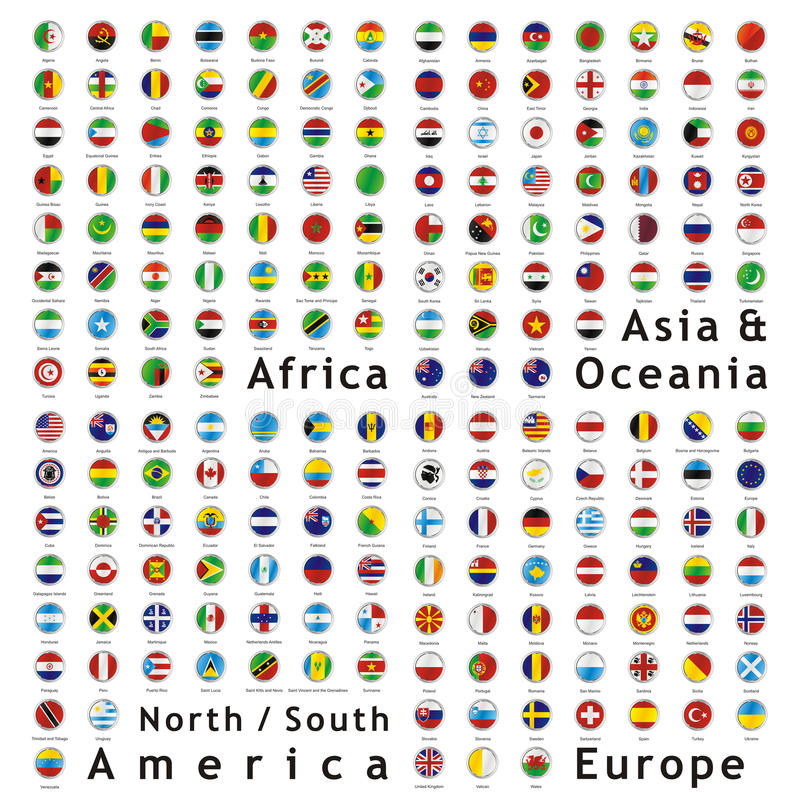Vector world flags web buttons stock photos