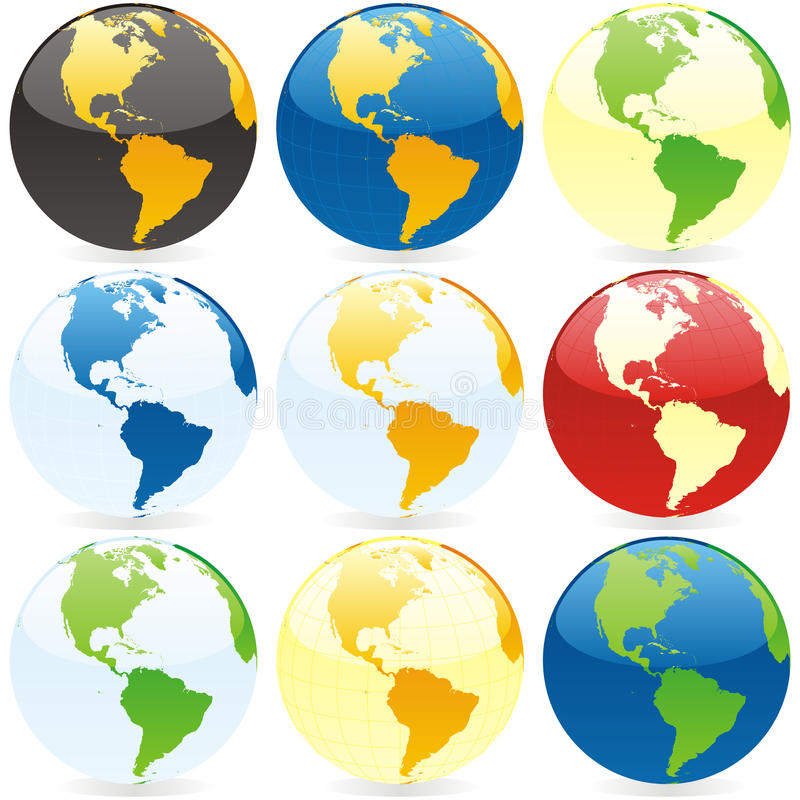 Vector world globes. Vector illustration of world globes stock illustration