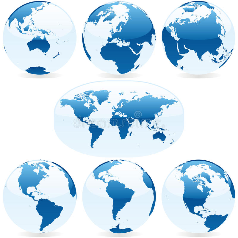 Vector world globes and map royalty free stock photo