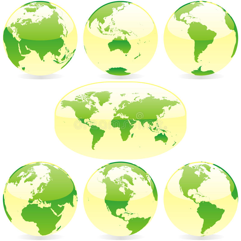 Vector world globes and map. Vector illustration of world globes and map vector illustration