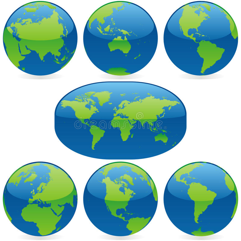 Vector world globes and map. Vector illustration of world globes and map stock illustration