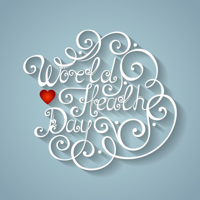 Vector World Healh Day Inscription, Holiday Symbol stock illustration