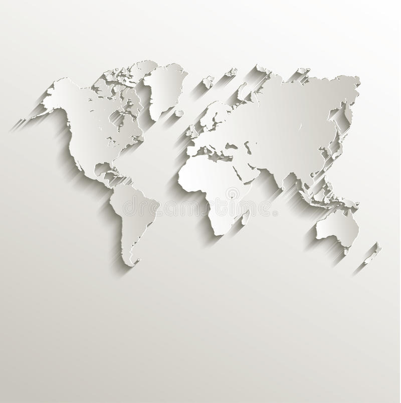Free Vector World Map Card Paper 3D Nature Stock Photos - 33514813
