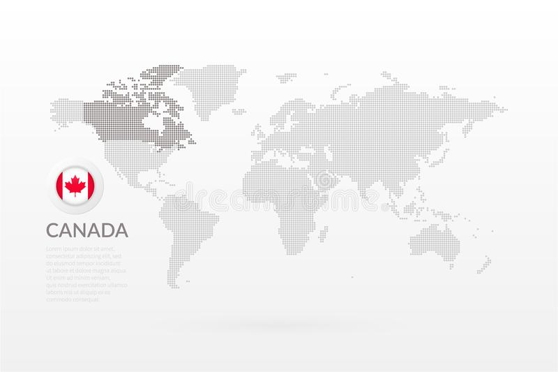 Vector World Map Infographic With Maple Leaf Symbol Canadian Flag