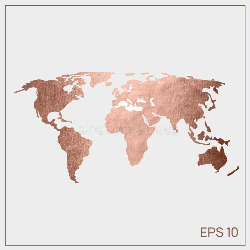 Vector world map pink gold. EPS 10 web stock illustration