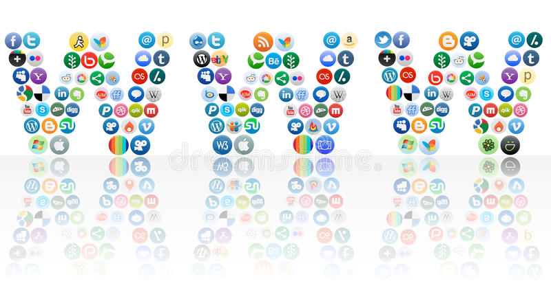 Vector World wide web of social networking. Icons of worlds famous social networking sites arranged in the form of www with reflection stock illustration