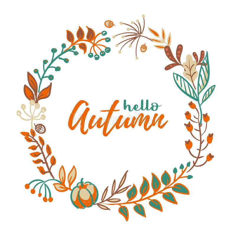 Vector wreath of autumn leaves and fruit in doodle style. Beautiful round wreath of yellow and red leaves, acorns vector illustration