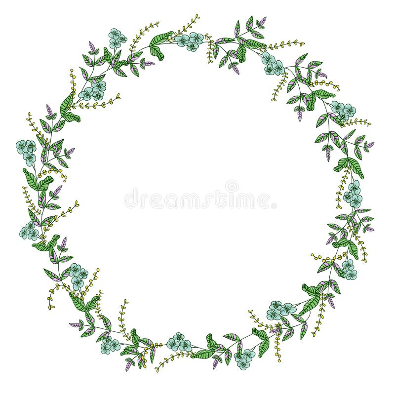 Vector wreath of garden flowers and herbs. Hand drawn cartoon style illustration. Cute summer or spring frame for wedding, holiday stock illustration