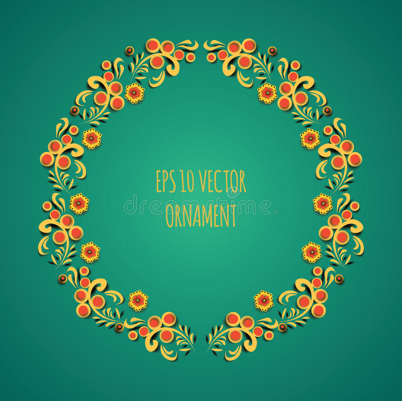 Vector wreath illustration of traditional folk russian floral old ornament named khokhloma on green background stock illustration