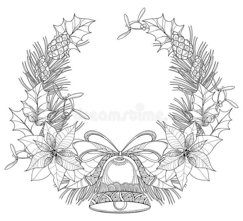 Vector wreath with outline Poinsettia flower, holly berry, mistletoe, pine, cone and bell with bow isolated on white background. Christmas symbol in contour stock illustration