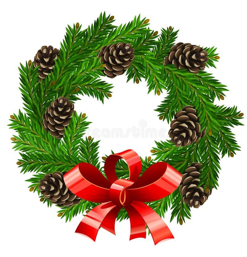 Vector Wreathweihnachtsdekoration lizenzfreie abbildung