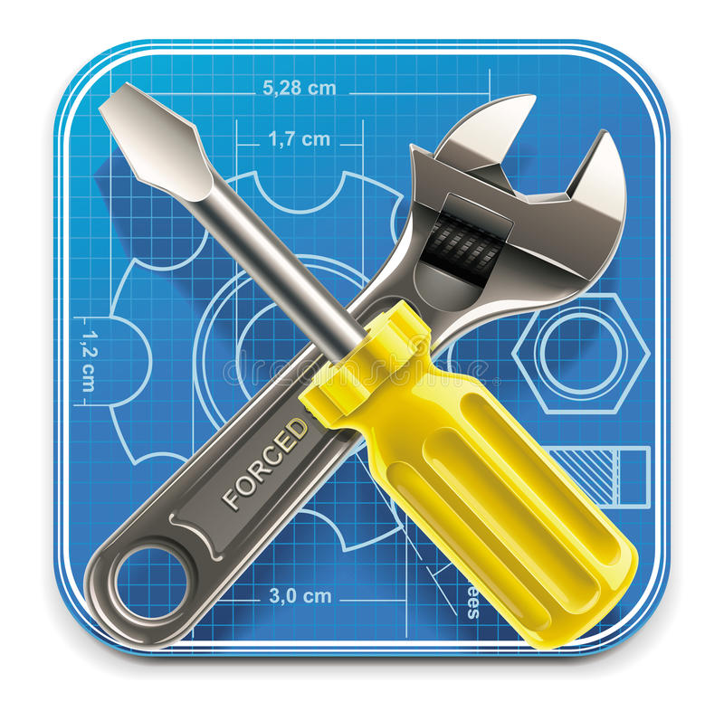 Vector wrench and screwdriver on blueprint XXL stock illustration
