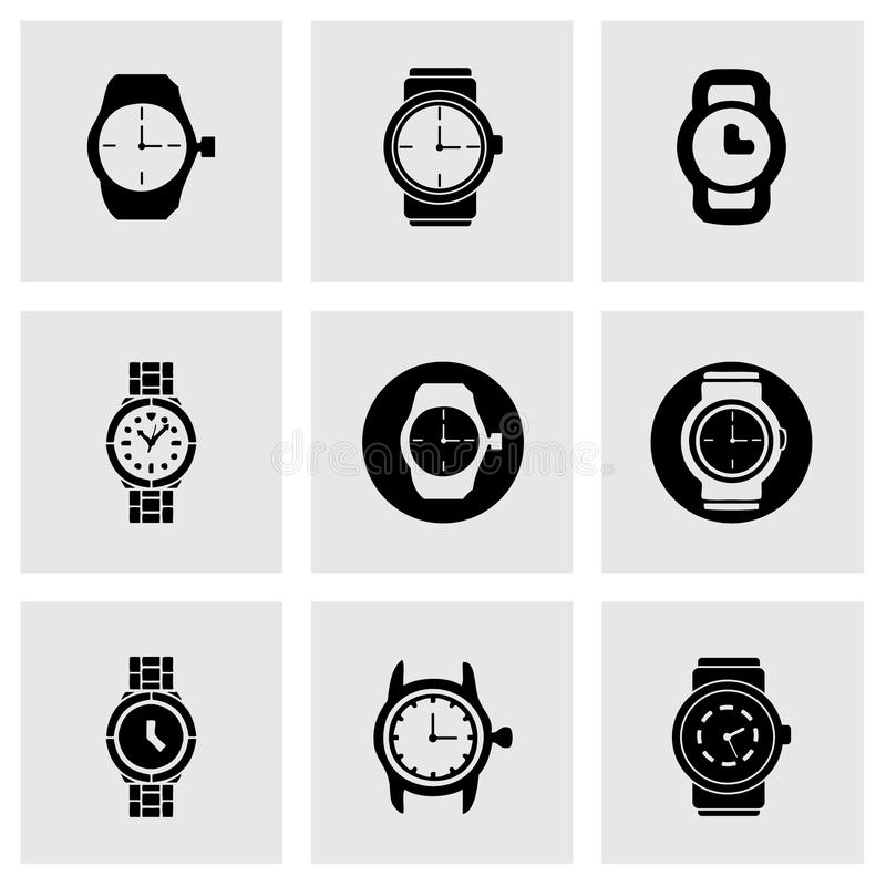 Vector wristwatch icon set. On grey background royalty free illustration