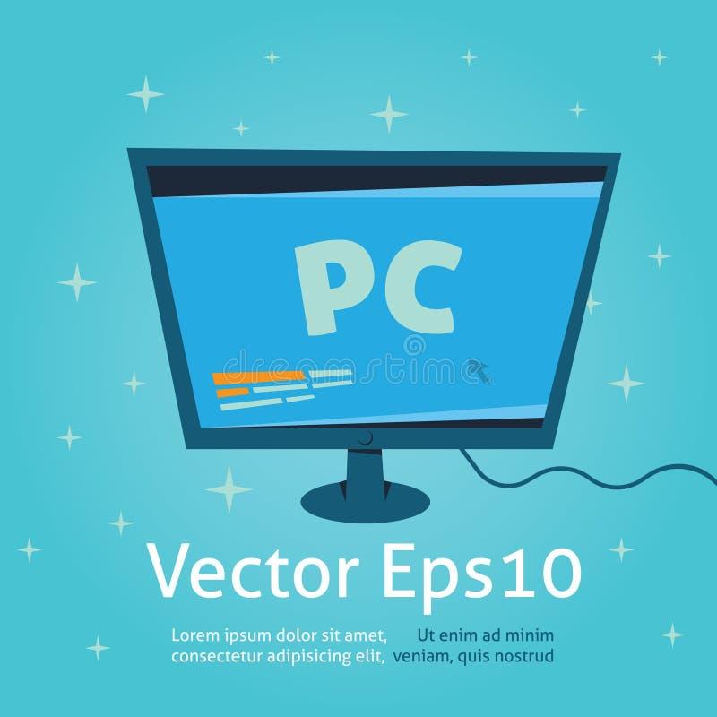 Vector y ejemplo, desctop de la historieta del monitor de computadora de la PC stock de ilustración