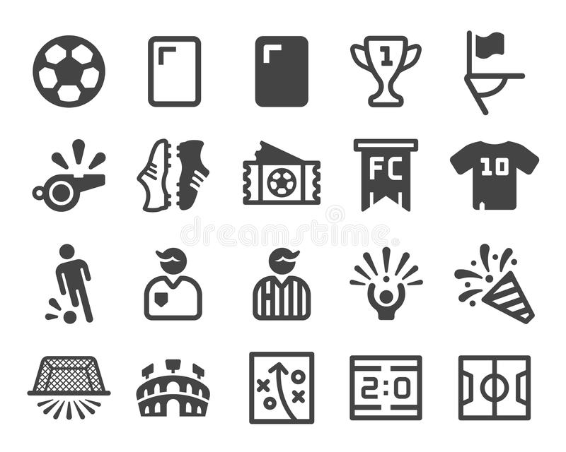 Vector y ejemplo determinados del icono del fútbol stock de ilustración