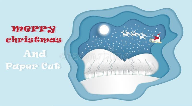 Vector y la Navidad con Santa Claus para entregar los regalos stock de ilustración