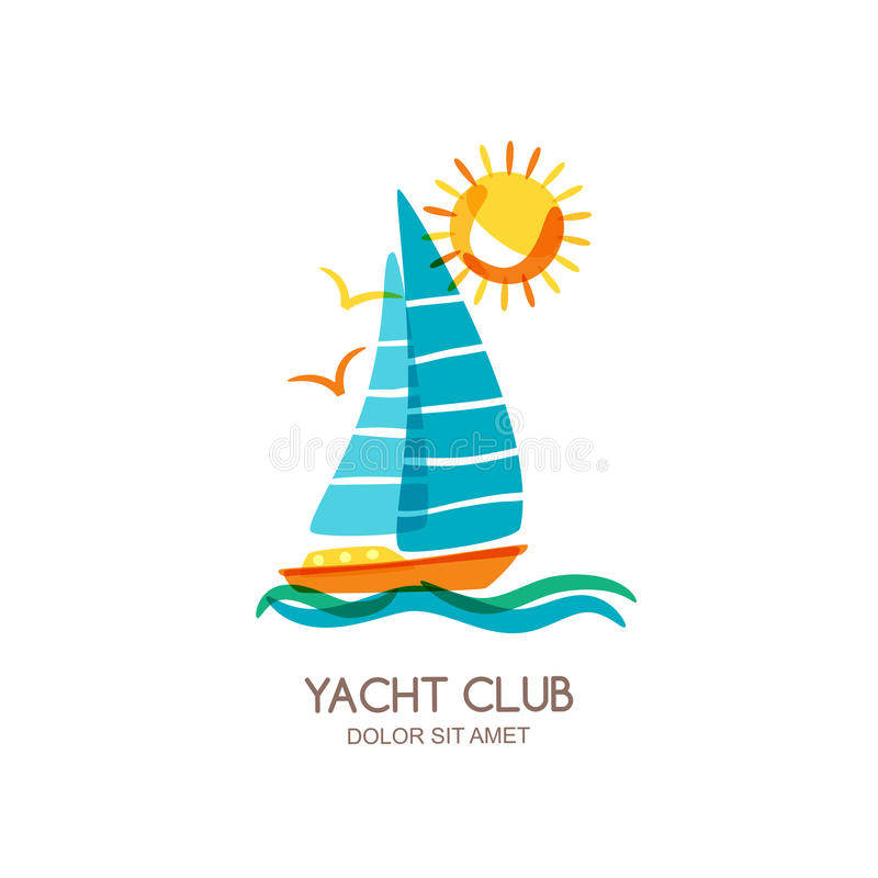 Vector yacht club logo design template. Sailing boat in the sea and sun. Summer vacation isolated doodle illustration. stock illustration