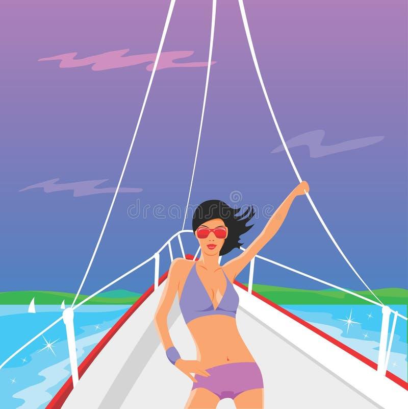 Download Vector yacht girl stock vector. Image of sailor, luxury - 5718531