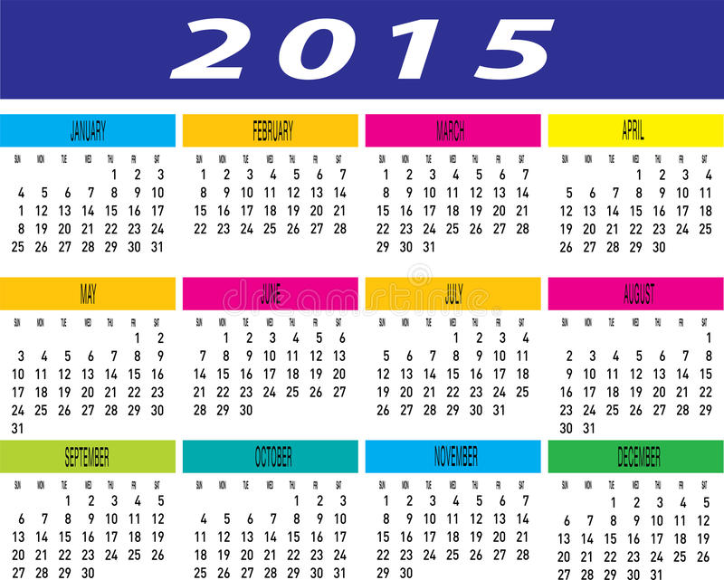 Vector Of Year 2015 Colorful Monthly Calendar Template Stock Vector