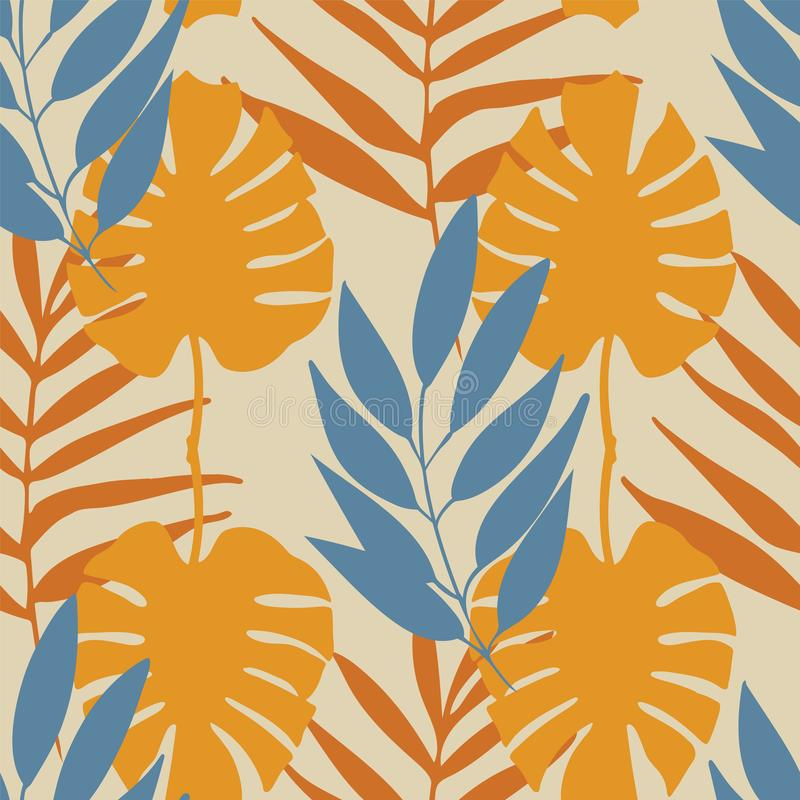 Vector yellow and blue tropical leaves seamless pattern repeat stock illustration