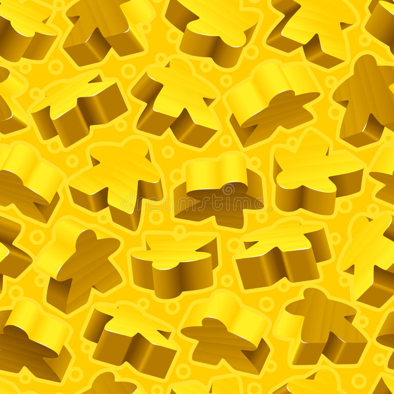 Vector yellow meeples seamless pattern royalty free illustration