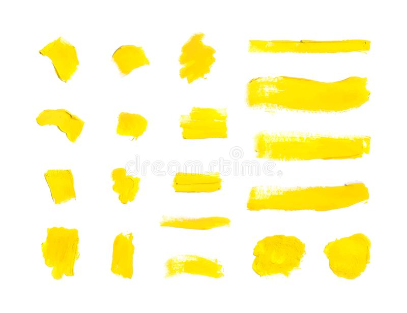 Vector Yellow Paint Strokes Background, Blank Smears Set. stock illustration